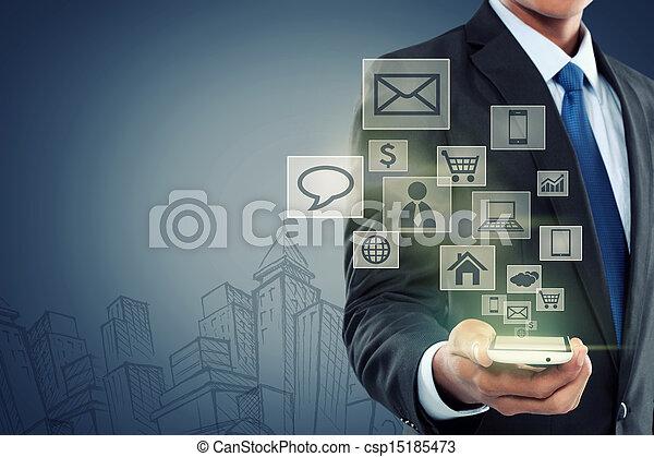 pohyblivý sdělování, novodobý technika, telefon - csp15185473