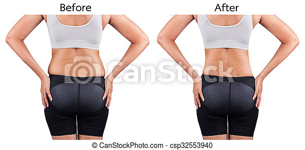 poids, avant, arrière, femmes, graisse, perte, après - csp32553940