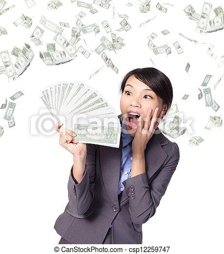 poignée, argent, femme, regard, business - csp12259747