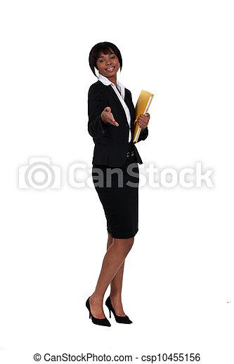 poignée main, elle, femme affaires, possession main, amical, dehors - csp10455156