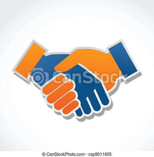 poignée main, vecteur, résumé, illustration - csp9011605