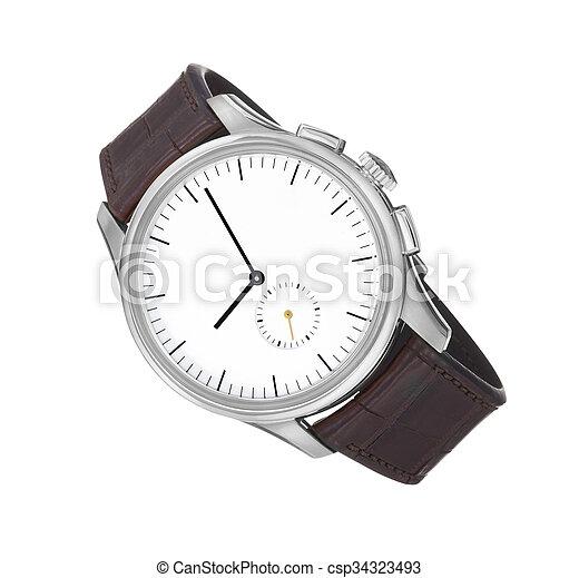 poignet, blanc, montre, isolé, fond - csp34323493
