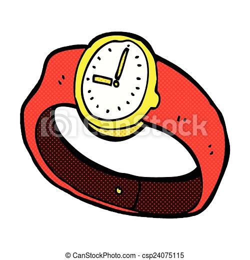 poignet, comique, montre, dessin animé - csp24075115