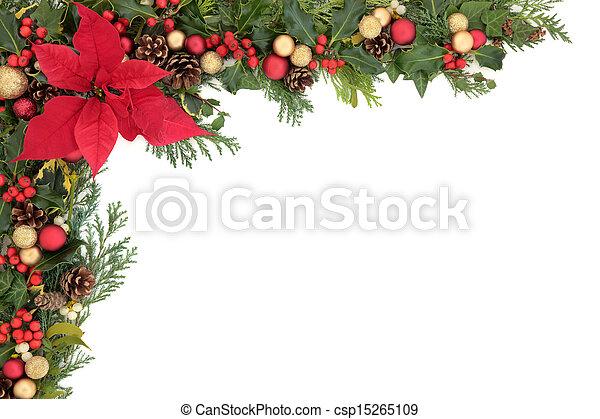 poinsettia flower border csp15265109
