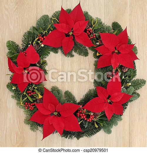 Poinsettia Wreath Poinsettia Flower Wreath With Holly Fir Mistletoe And Pine Cones Over Light Oak Background Canstock