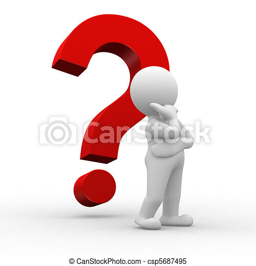 Point interrogation. 3d, question, rouges, humain, marque.