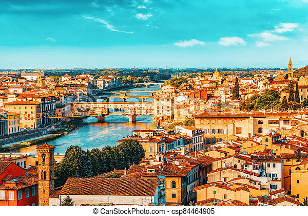 point., piazzale, florencia, time., panorama, vista, sobre, michelangelo, hermoso, mañana, histórico, paisaje - csp84464905