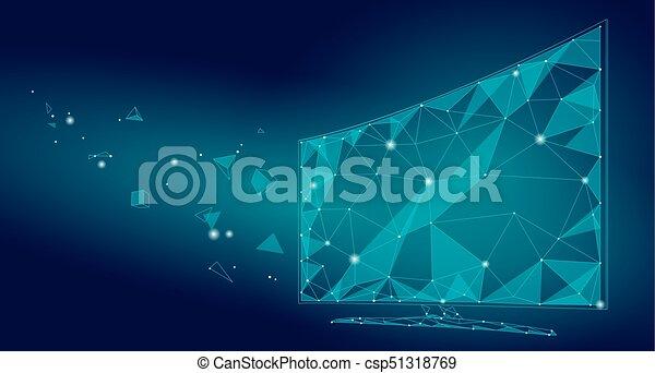 point, poly, réalité, technologie, tv, virtuel, bureau, polygonal, pc, avenir, bas, innovation, intelligent, points, écran, illustration, connecté, ligne, video., vecteur, exposer, art. - csp51318769