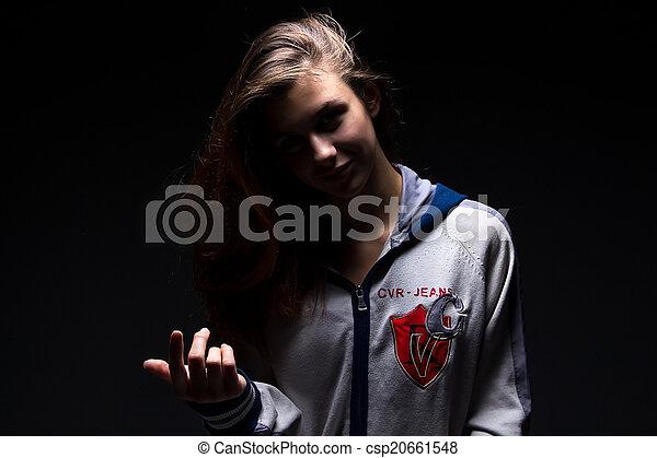 pointage, elle, doigt, girl, ombre, adolescent - csp20661548
