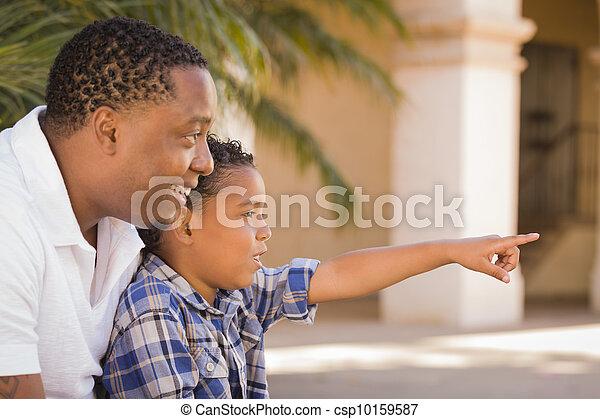 pointage, parc, père, fils, course, mélangé - csp10159587