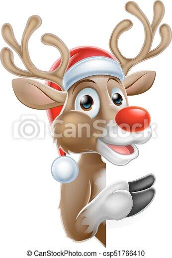 pointage, renne, signe, derrière, santa chapeau - csp51766410