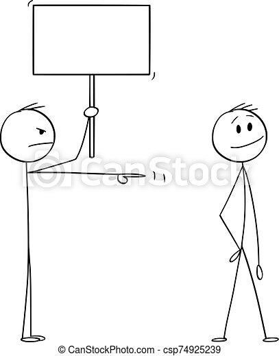 pointage, vide, vecteur, ou, fâché, illustration, signe, dessin animé, homme, sourire, homme affaires - csp74925239