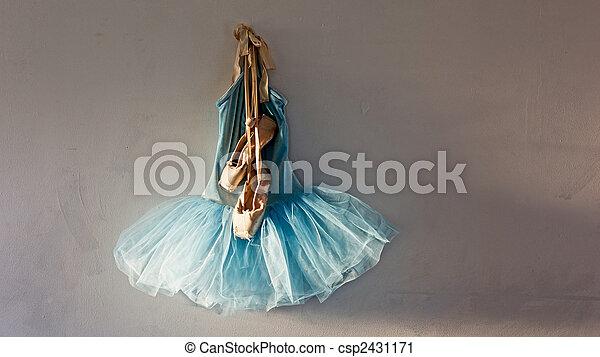 b73d5f25c7a6 Pointe shoes on tutu. A blue velvet romantic tutu is hanging on a ...