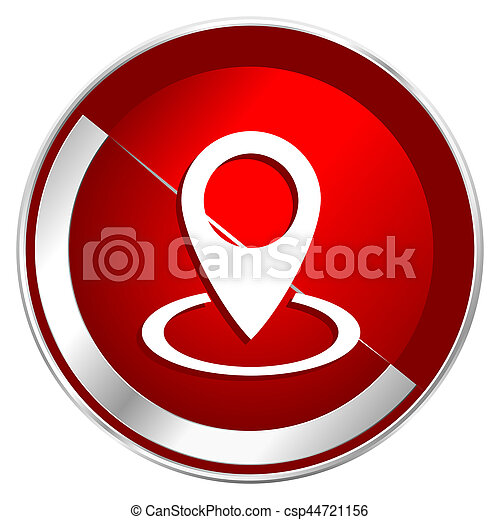 Pointer red web icon. Metal shine silver chrome border round button isolated on white background. Circle modern design abstract sign for smartphone applications. - csp44721156