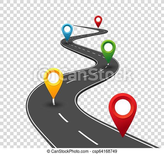 pointers., viaggio, affari, strada, sinuosità, infographics., successo, progresso, concetto, perno, way. - csp64168749