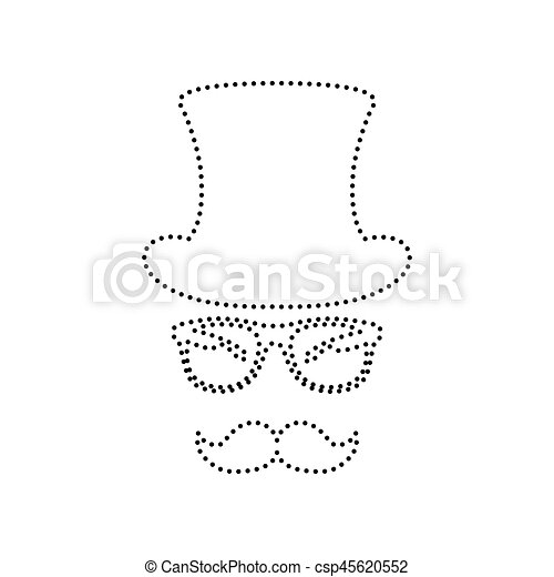 Pointille Isolated Accessoires Arriere Plan Noir Vector Hipster Blanc Design Icone