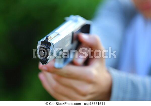 Pointing a Gun - csp13751511
