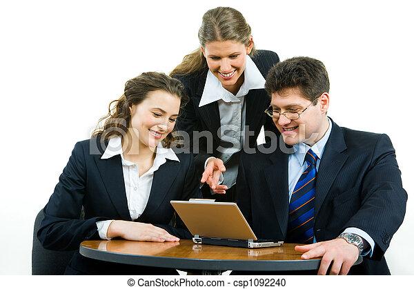Pointing at laptop - csp1092240