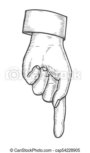 Hand Showing Symbol Pointing Down Finger Retro Vintage Vector