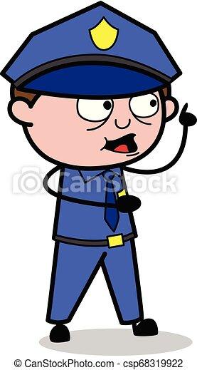 Pointing Finger - Retro Cop Policeman Vector Illustration - csp68319922