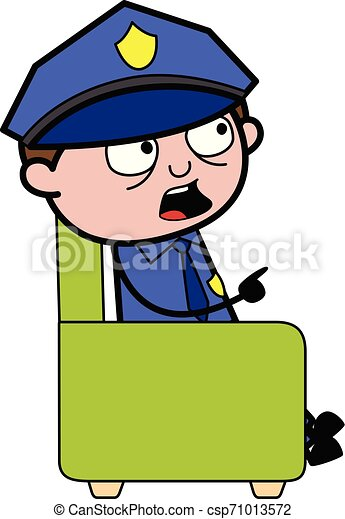 Pointing Finger While Talking - Retro Cop Policeman Vector Illustration - csp71013572