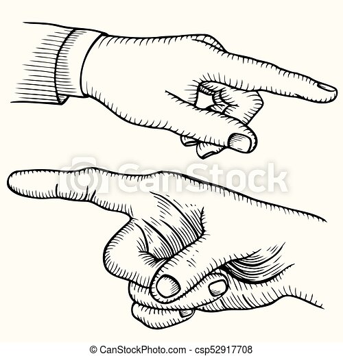 pointing hand finger set of pointing finger hands vector black vintage engraved illustration isolated on a white https www canstockphoto com pointing hand finger 52917708 html