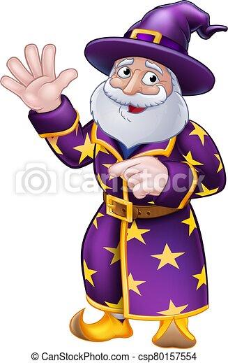 Pointing Wizard Cartoon Character - csp80157554