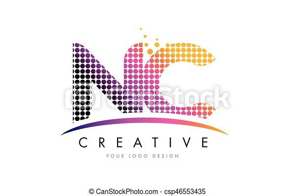 Points C Nc N Conception Lettre Swoosh Logo Magenta