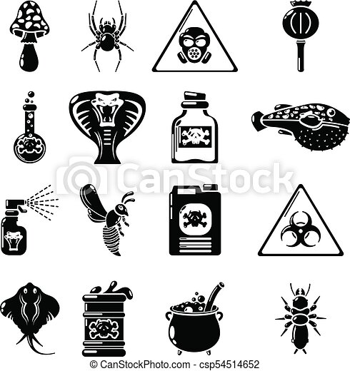 Poison Danger Toxic Icons Set Simple Style Poison Danger