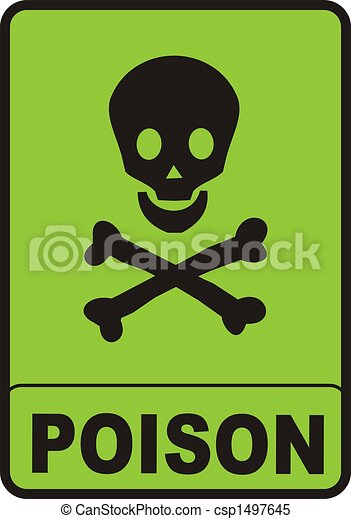 Poison Sign Illustration Of A Black Skull On Green Background And Text Canstock