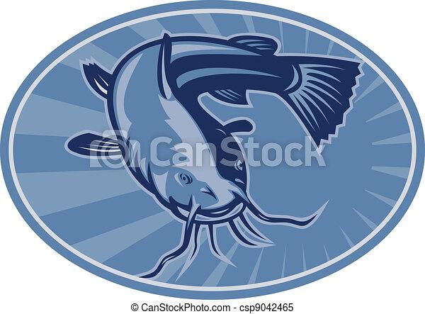 poisson-chat, retro, woodcut, bullhead - csp9042465