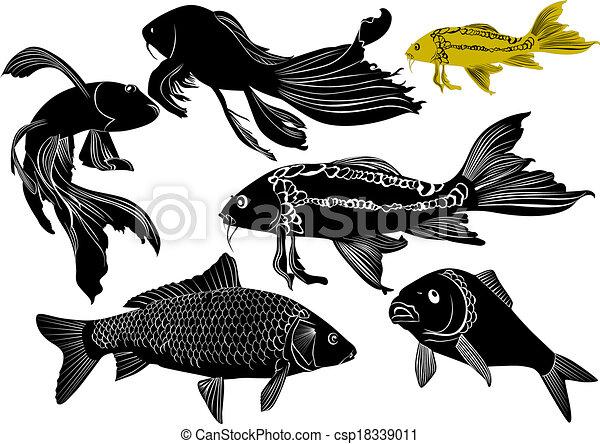 Bevorzugt Clipart Vecteur de poisson rouge, carpe csp18339011 - Recherchez  AF15