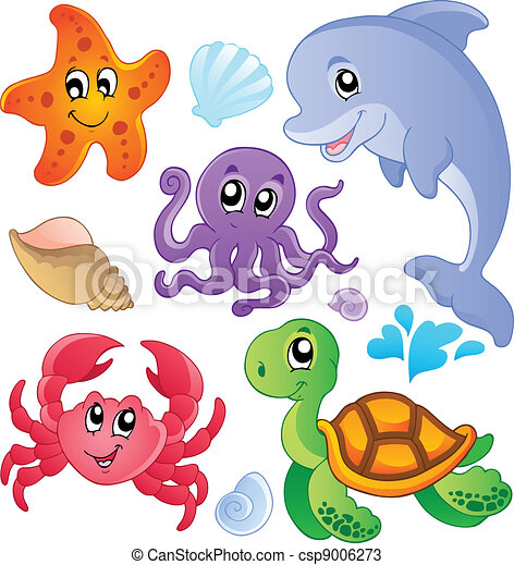 poissons, 3, animaux, mer, collection - csp9006273