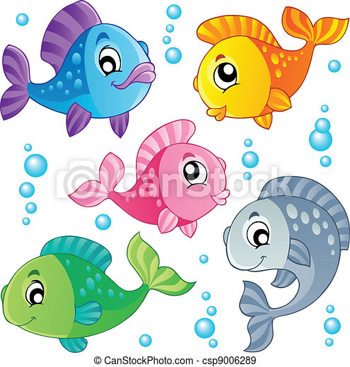 poissons, mignon, 3, divers, collection - csp9006289