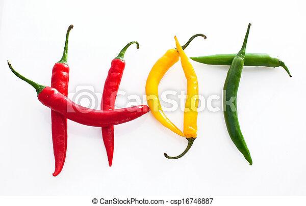poivre, fait, mot, jaune, chaud, arrière-plan vert, piment, blanc rouge - csp16746887