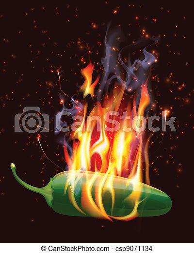 poivre, jelapeno, chaud, brûlé - csp9071134
