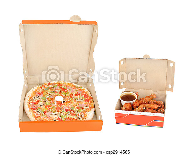 poivre, poulet, jambon, trempette, ailes, pizza - csp2914565
