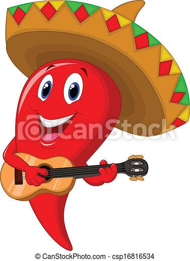 poivre, weari, mariachi, piment, dessin animé - csp16816534