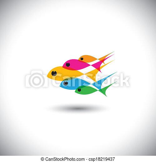 pojęcie, barwny, -, zjednoczony, wektor, przewodnictwo, drużyna, ryby - csp18219437