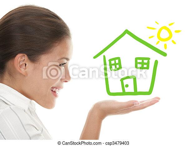 pojęcie, dom, idea, właściciel, beeing, szczęśliwy - csp3479403
