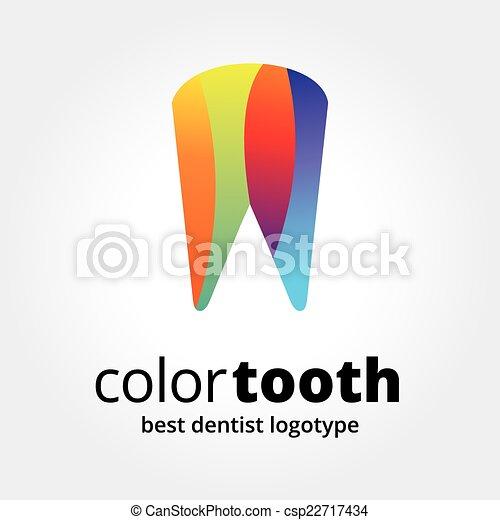 pojęcie, logotype, abstrakcyjny, odizolowany, ząb, wektor, tło, biały, stomatologiczny - csp22717434
