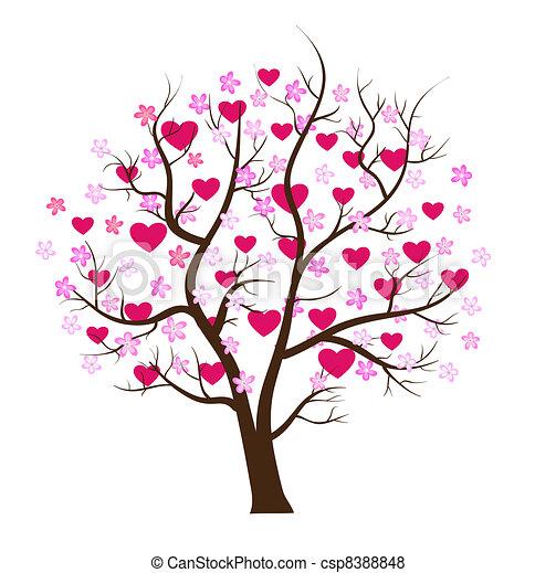 pojęcie, miłość, drzewo, valentine, wektor, dzień - csp8388848