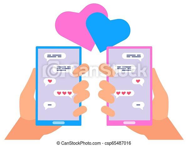 pojęcie, miłość, ludzie, wektor, online, chating - csp65487016
