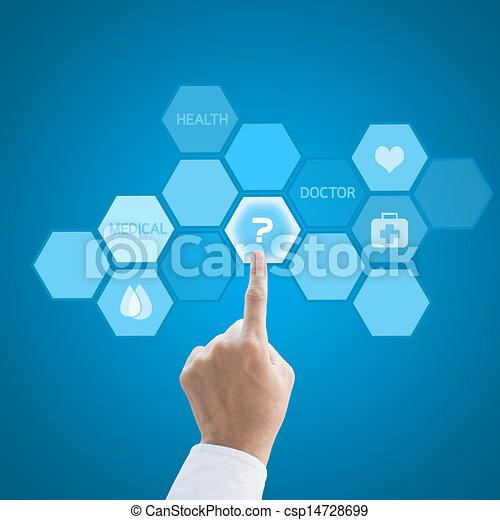 pojęcie, pracujący, doktor, medyczny, nowoczesny, ręka, medycyna, komputer, interfejs - csp14728699