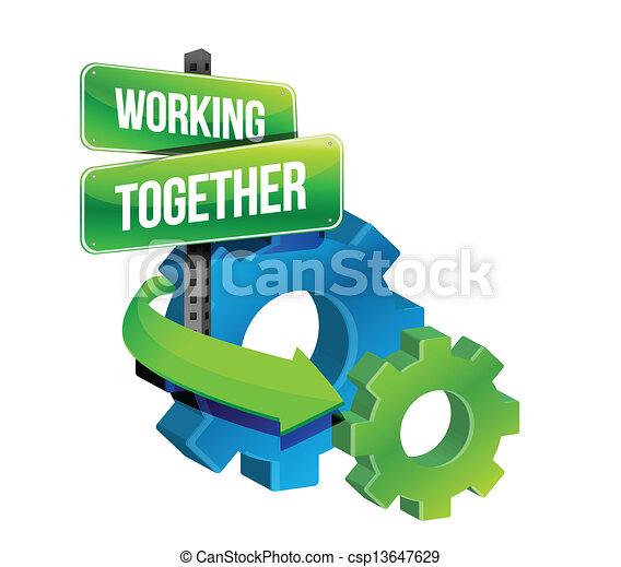 pojęcie, pracujący razem, mechanizmy - csp13647629