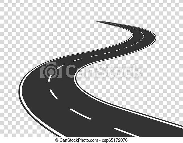 pojęcie, road., asfalt, odizolowany, highway., meandrowy, podróż, handel, droga, horyzont, perspective., łukowata lina, opróżniać - csp65172076