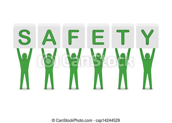 pojęcie, słowo, illustration., mężczyźni, dzierżawa, safety., 3d - csp14244529