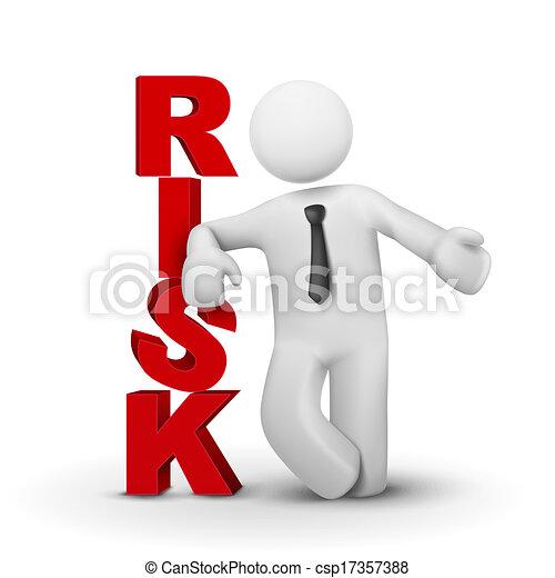pojęcie, słowo, ryzyko, przedstawiając, biznesmen, 3d - csp17357388