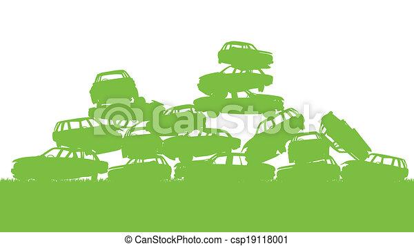 pojęcie, sortowanie, stos, afisz, tracić, junkyard, ekologia, zielone tło, kierownictwo, tracić - csp19118001