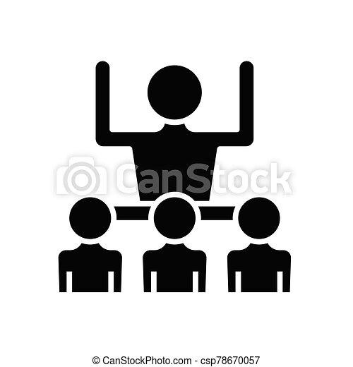 pojęcie, symbol, glyph, lider, rozłączenie, wektor, ilustracja, ikona, płaski, czarnoskóry, poznaczcie. - csp78670057